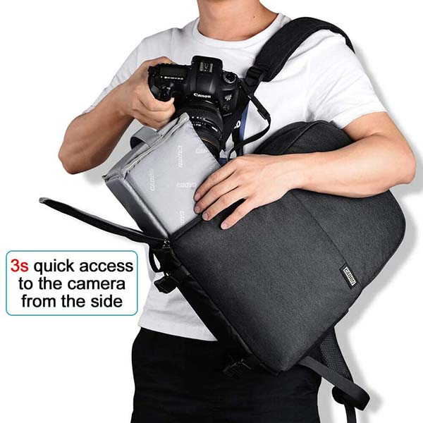 Caden DSLR Camera Backpack with Side Access