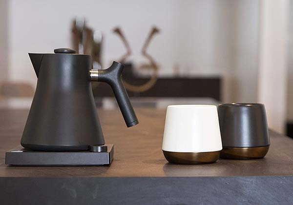 Fellow Joey Double Wall Ceramic Coffee Mug with Copper Bottom