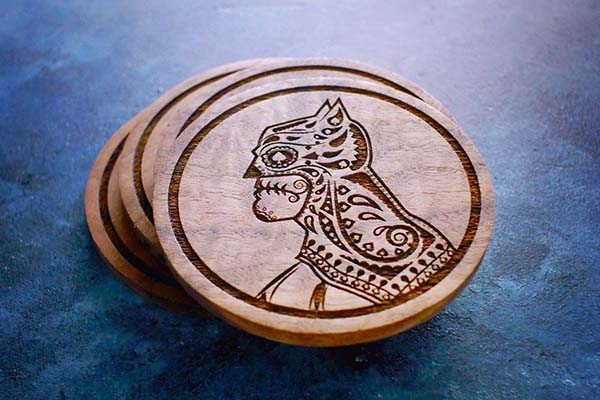 Handmade Batman Wooden Coasters Inspired by Mexican Day of the Dead