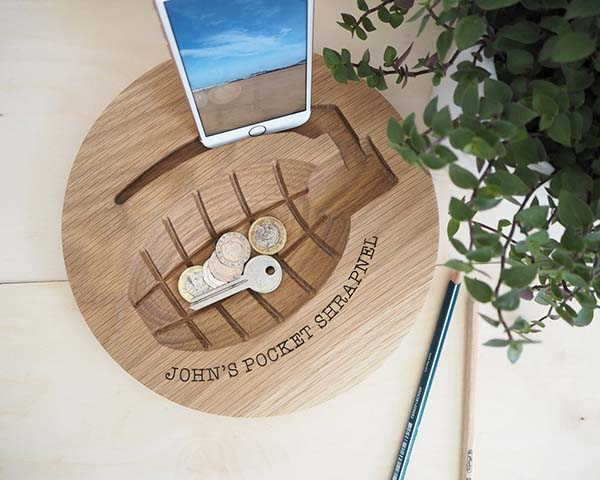 Handmade Grenade Wooden Desk Organizer with Personalization