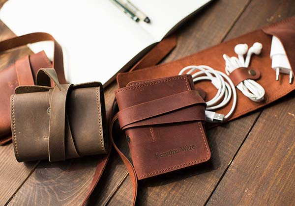 Handmade Leather Cable Organizer with Personalization