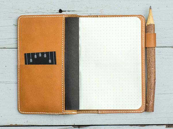 Handmade Leather Pocket Notebook with Pen Holder