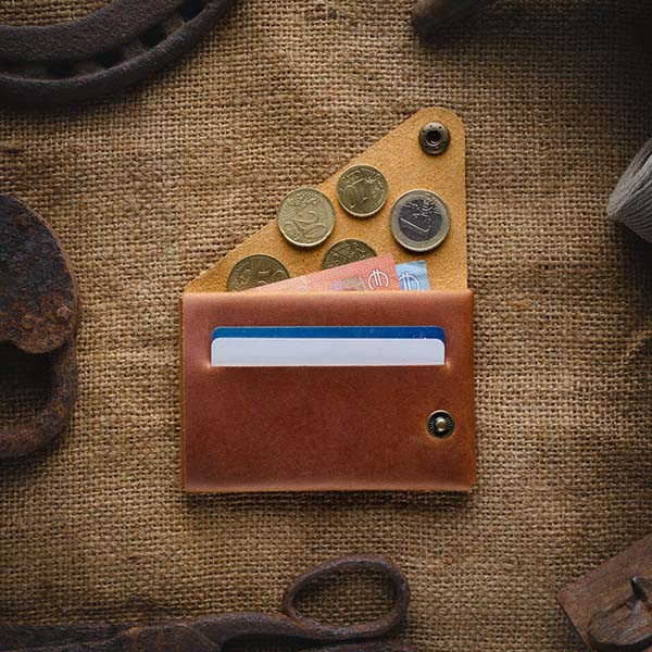 Handmade Minimal Leather Wallet with Personalization