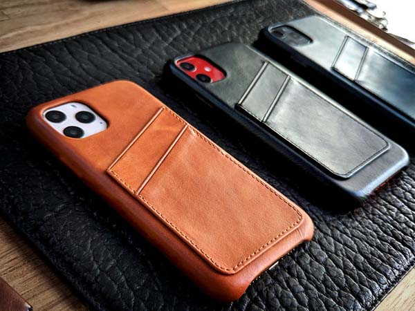 Handmade Personalized Leather iPhone 11 Case with Card Holder