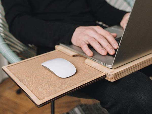 Handmade Wooden Lap Desk with Retractable Cork Mouse Pad