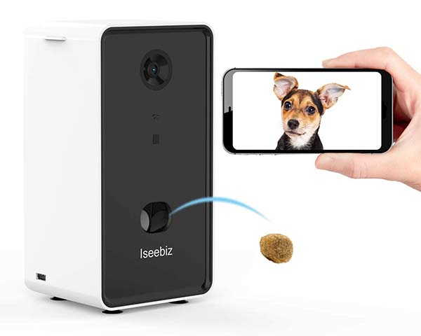 Iseebiz Smart Pet Treat Dispenser with Camera and Two-Way Audio