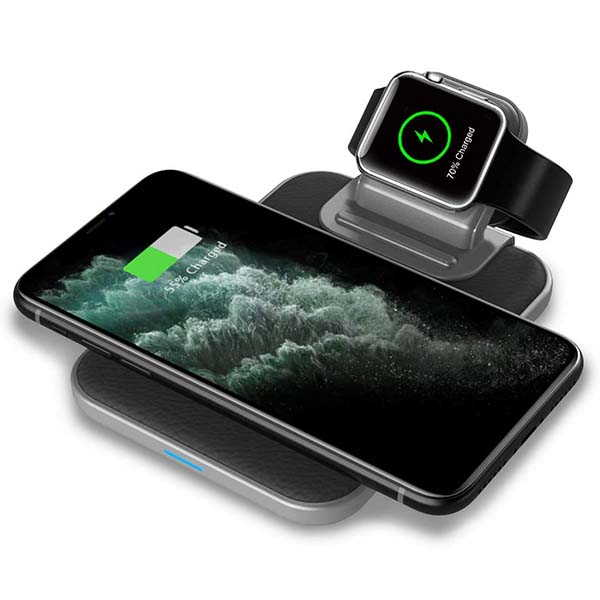 Mangotek 3-In-1 Fast Wireless Charging Station with Apple Watch Charger and USB Port