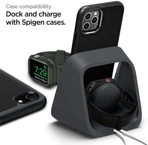 Spigen 2-In-1 Charging Stand for iPhone, AirPods and Apple Watch