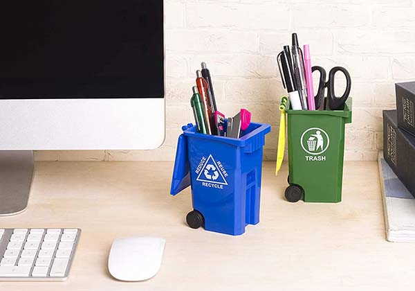 The Desktop Organizer Looks Like a Mini Curbside Garbage Trash Bin