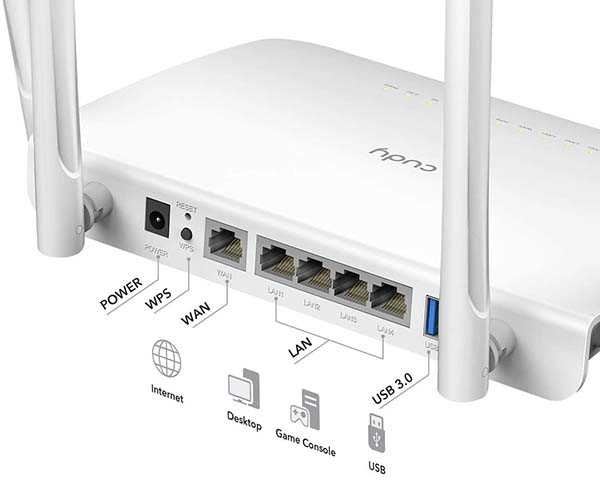 Cudy WR1300 AC1200 WiFi Router with VPN and 5dBi Antennas