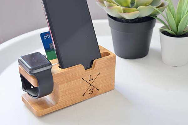Handmade Personalized Bamboo Charging Station for iPhone and Apple Watch