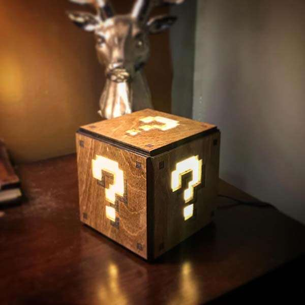 Handmade Super Mario Wooden LED Nightlight Inspired by Question Block