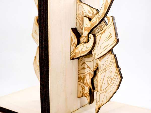 Handmade Wooden Bookends Inspired by Samurai