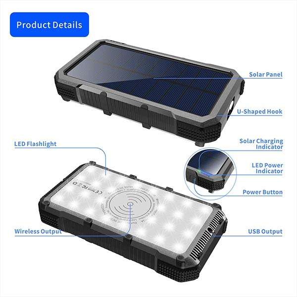 Mingese Solar Power Bank with Wireless Charging Pad and LED Flashlight