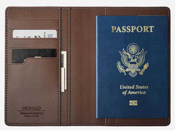 Nomad Traditional Leather Passport Wallet with Tile Slim Bluetooth Tracker