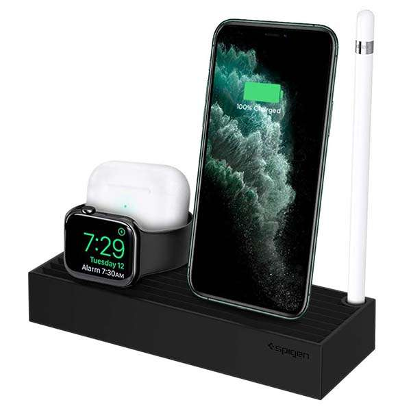 Spigen S318 3-In-1 Charging Station for iPhone, Apple Watch and AirPods
