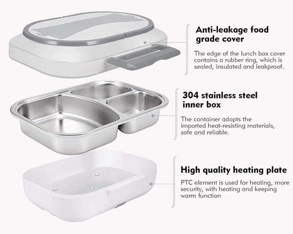 UUTO Electric Heating Lunch Box with Stainless Steel Container