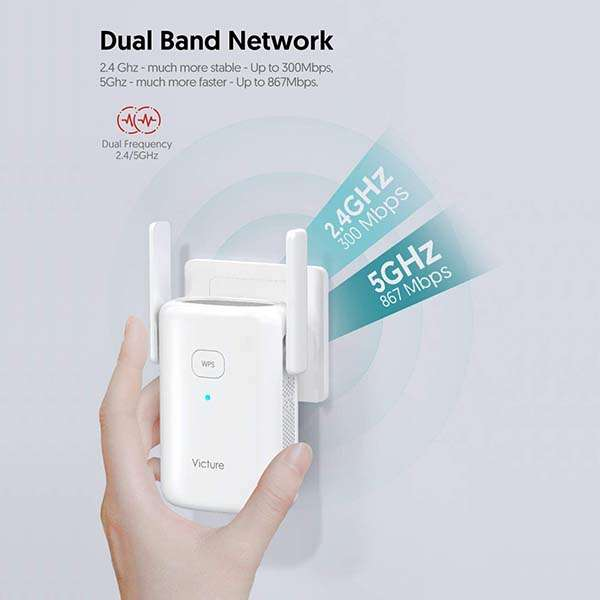 Victure Dual Band WiFi Range Extender with Ethernet Port