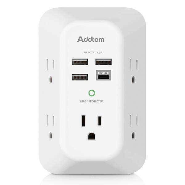 Addtam 5 Outlet Extender with USB Charger