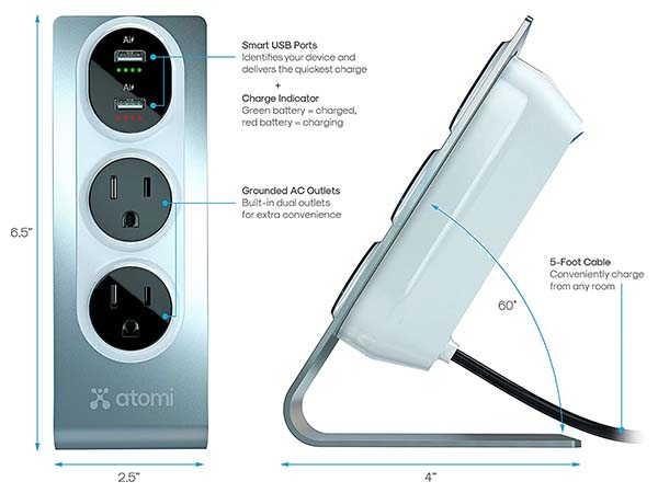 Atomi Desktop Surge Protector with 2 USB Ports