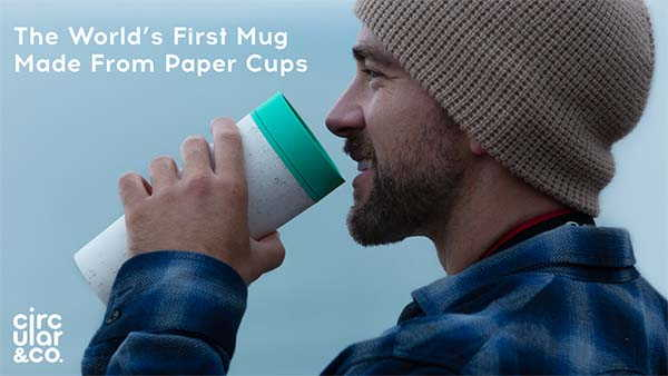 Circular Travel Mug Made from Recycled Cups