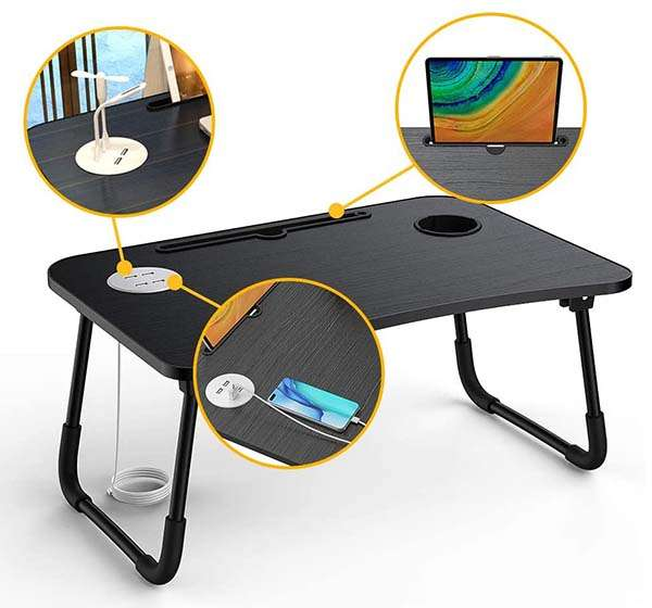 Elekin Foldable Laptop Desk with USB Hub and Cup Holder