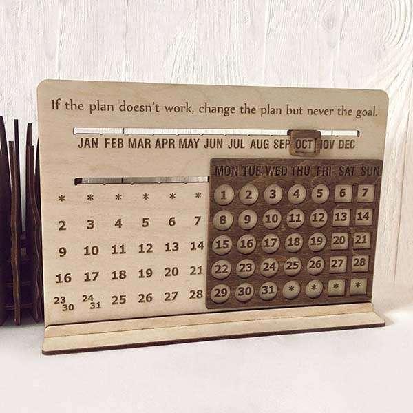 Handmade Desk Wooden Perpetual Calendar