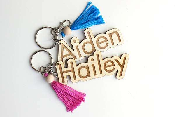Handmade Personalized Wooden Keychain with Colored Tassel and Swivel Lobster Clasp