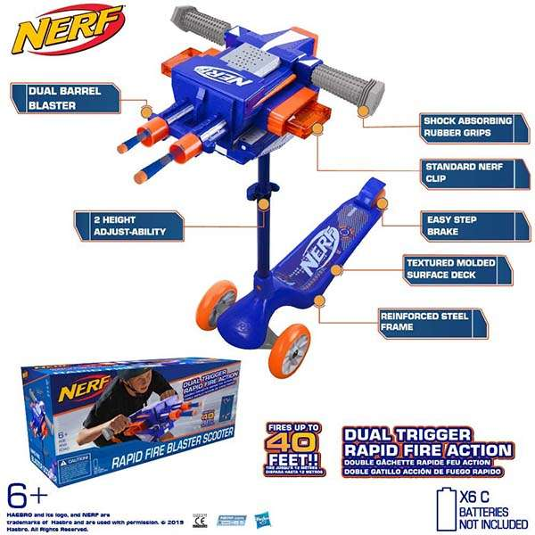 Nerf 3-Wheel Blaster Scooter with Dual Trigger Rapid Fire Action