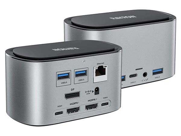 RAYROW USB-C Docking Station with SSD Enclosure and Triple Display Connection