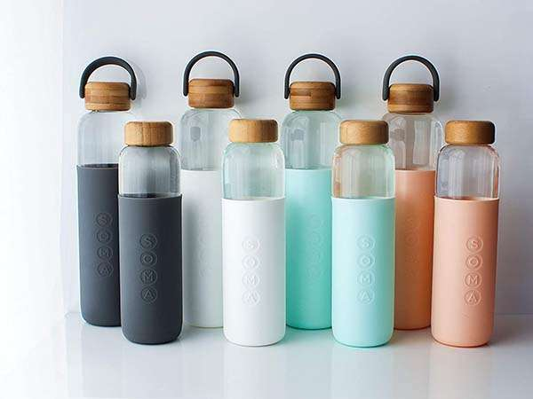 Soma BPA-Free Glass Water Bottle with Silicone Sleeve