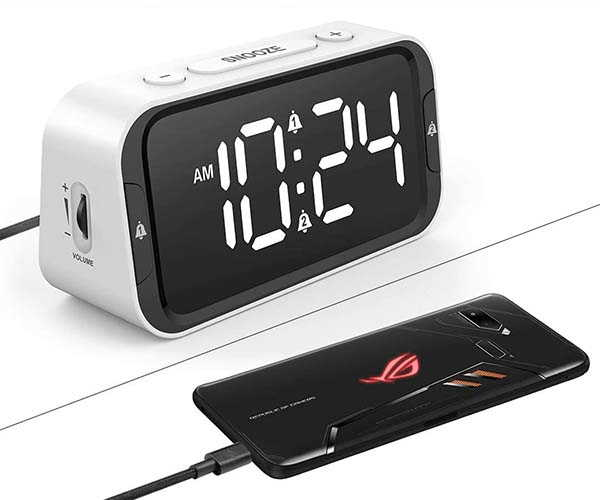 The Bedside Digital Alarm Clock with 100dB Loud Alarm and USB Port