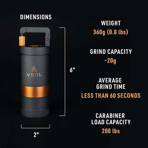 VSSL JAVA Portable Manual Coffee Grinder with 30 Grind Settings