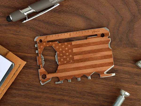 American Flag Stainless Steel Multitool Card with 20 Tools