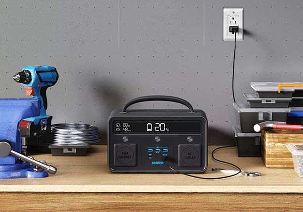 Anker Powerhouse II 400 Portable Power Station with 300W AC Outlet and LED Lights
