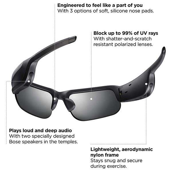 Bose Frames Tempo Bluetooth Sport Audio Sunglasses with Polarized Lenses