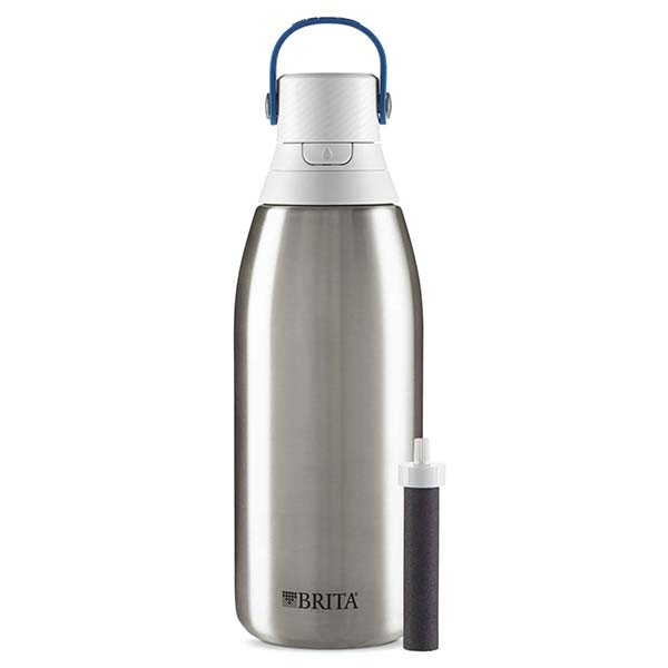 Brita Stainless Steel Filtering Water Bottle with Double-Wall Insulation