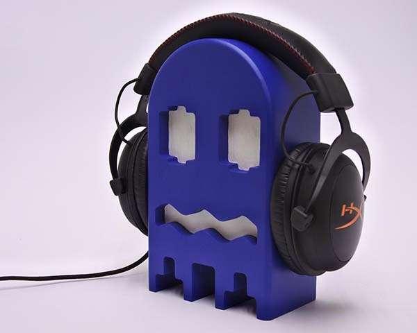 Handmade Headphone Holder Inspired by Pac-Man Ghosts
