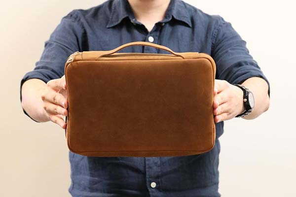 Handmade Personalized Leather Gadget Bag with Handle