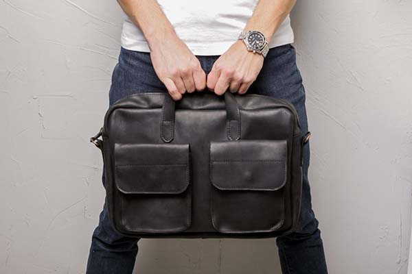 Handmade Personalized Leather Laptop Bag with Removable Shoulder Strap