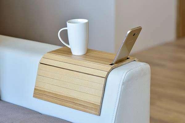 Handmade Sofa Arm Table Tray with Phone Holder