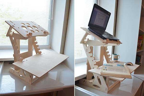 Handmade Wooden Standing Desk with an Adjustable Shelf