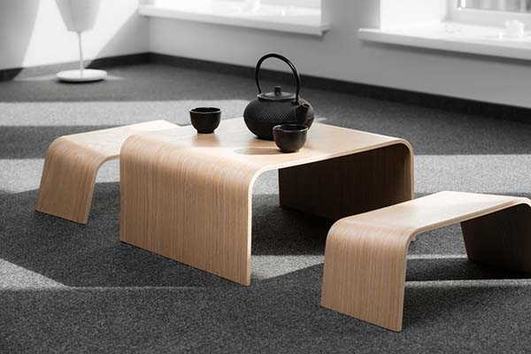 Handmade Wooden Table with Benches in Japanese Style