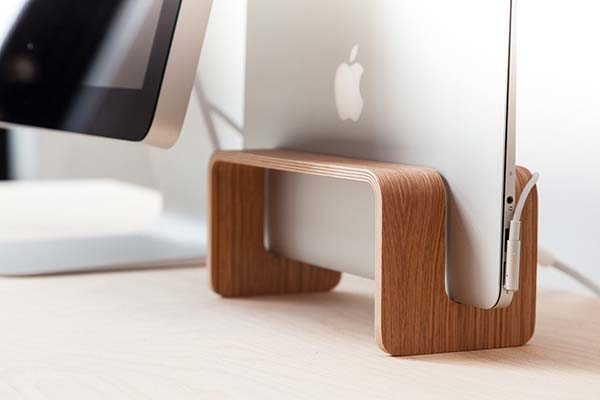 Handmade Wooden Vertical MacBook Stand