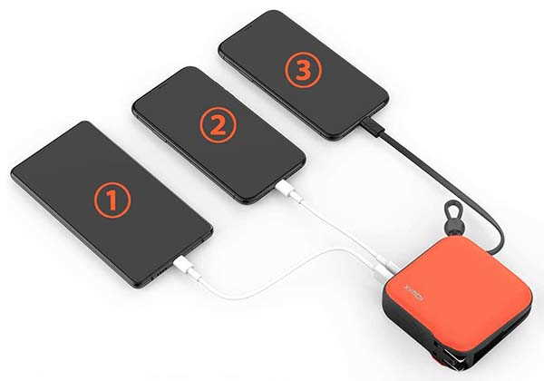 IDMIX Portable Power Bank with Lightning Cable Doubles as USB Wall Charger