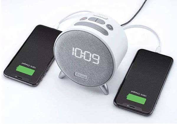 iHome iBT235W Bluetooth Alarm Clock with Dual USB Charging and LED Nightlight