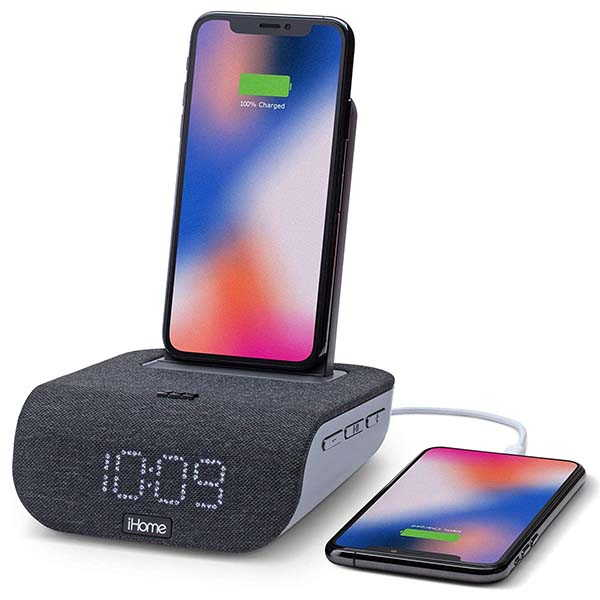 iHome iBTW20 Timebase Bluetooth Alarm Clock with Wireless Charging Stand