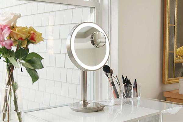 iHome Lux Power LED Makeup Mirror with Wireless Charging Pad and Bluetooth Speaker
