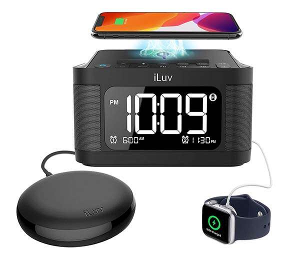 iLuv Time Shaker 6Q Wow Bluetooth Speaker with Alarm Clock, Vibration Shaker, Wireless Charger and More