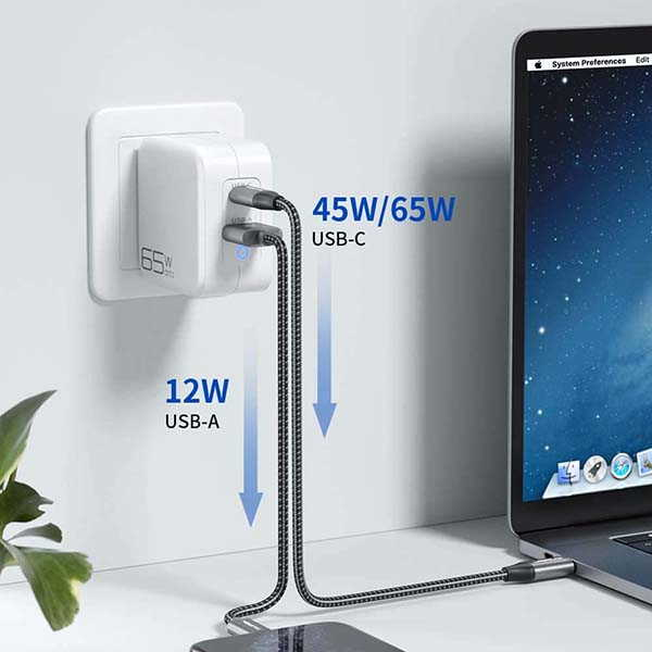 JSAUX GaN USB-C Wall Charger with 65W Power Delivery